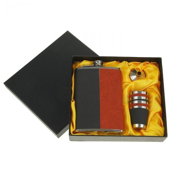 Набор 6в1 (фляжка 9oz+воронка+4 рюмки) комбинир. коричневый/черный 17х17см