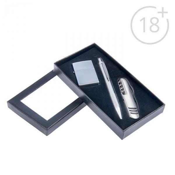 Набор подарочный 3в1 в карт.коробке (зажигалка бензин+нож 5в1+ручка) черный 11*18см