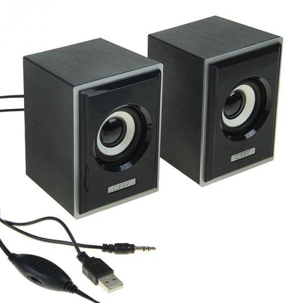 Акустическая система 2.0 CBR CMS 408 Black-Silver, 3 Вт, 2 колонки, USB, черно-серая
