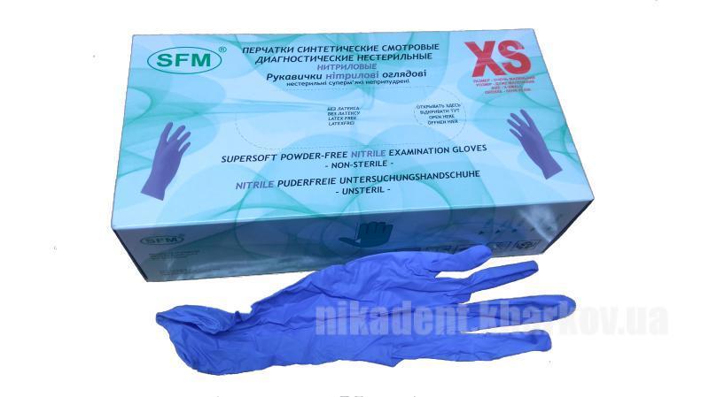 Фото Для стоматологических клиник, Расходные материалы Перчатки нитриловые SFM с алое вера без пудры текстурированные