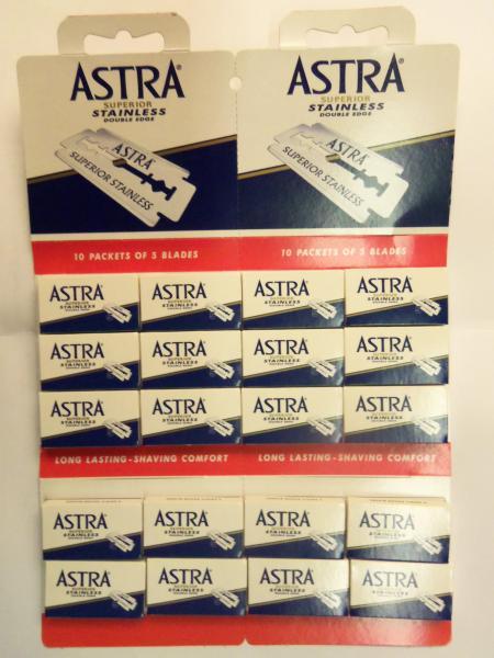 """Лезвия для бритья """"Astra stainless steel"""", упаковка 20 по 5 лезвий, производство Санкт-Питербург"""