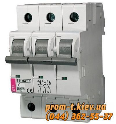 Фото Автоматические аппараты для защиты от перегрузок и короткого замыкания электрической цепи, Автоматический выключатель ETIMAT  Автомат ETIMAT 6 3p С 2А (ETI)
