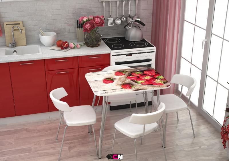 Фото Обеденные столы Стол с фотопечатью Клубника (Стендмебель)