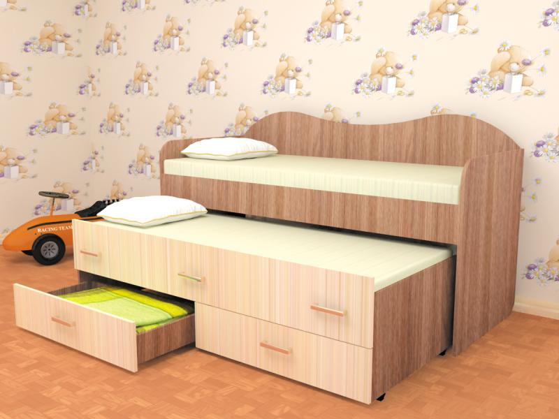 Фото Детская мебель, Детские кровати Двухместная кровать Нимфа (Пирамида)
