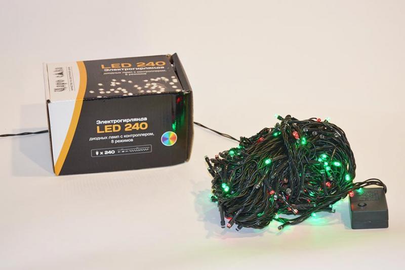 Электрогирлянда LED 240 желтых диодных ламп с контроллером, для внутреннего применения