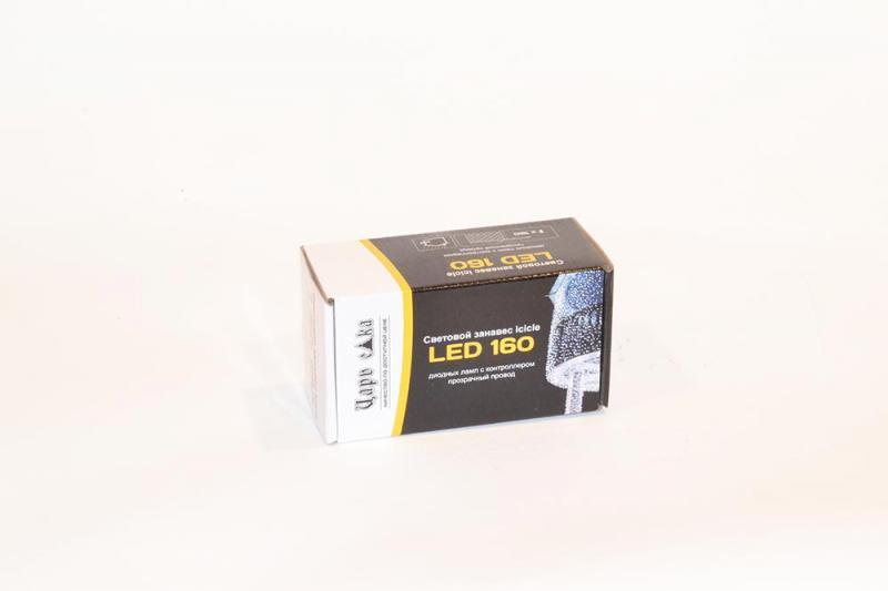 Сеть icicle 160 LED ламп с возможностью соединения максимум 20 сегментов,  230*100см на черном ПВХ проводе, старт кабель 150см, с контроллером, для внутреннего и внешнего применения