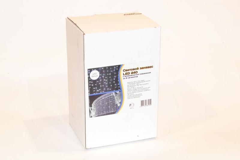 Световой занавес LED 240 диодных ламп, с возможностью соединения до 6 сегментов, 2*1,5 м, на белом каучуковом проводе , для внутреннего и наружного применения