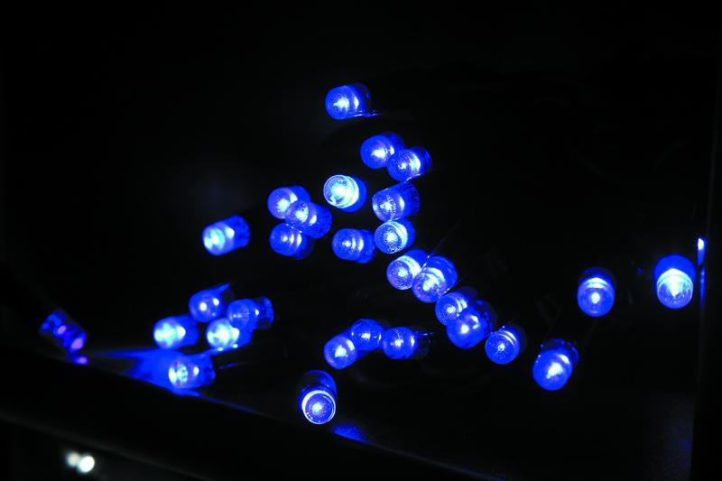 Электрогирлянда 20м,черный кабель 120 фиолетовых светодиодов