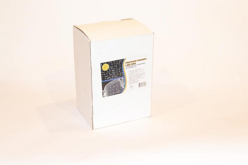 Световой занавес LED 540 диодных ламп, каждая 6 лампа мигает, с возможностью соединения до 3 сегментов, 2м*3 м, на белом каучуковом проводе , для внутреннего и наружнего применения