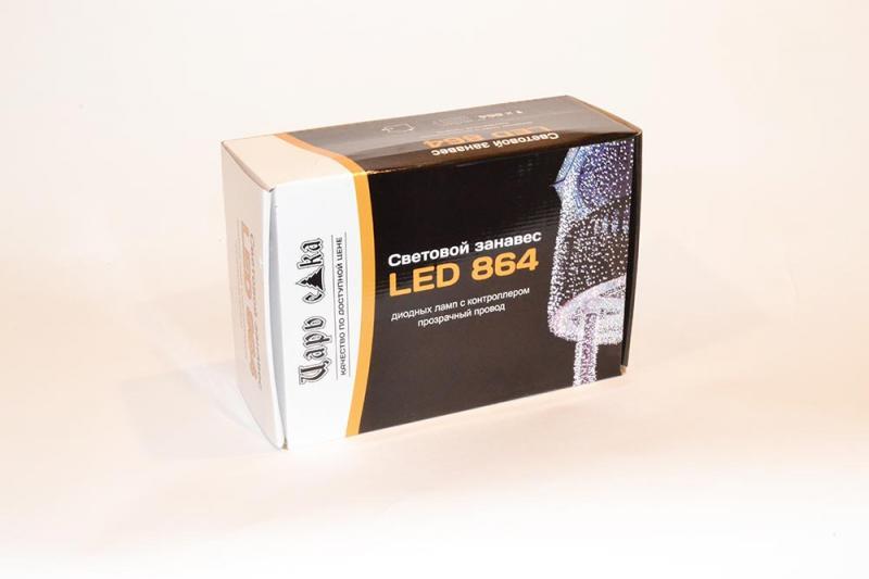 Световой занавес 864 LED ламп с возможностью соединения, ширина секции 2 м, высота 3 м на прозрачном проводе  с контроллером