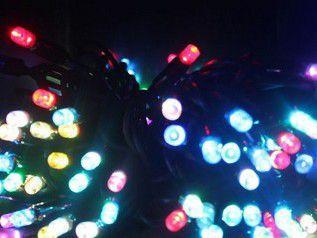 Электрогирлянда 20м,черный кабель 120  светодиодов 4 цвета - красный, синий, желтый, зеленый