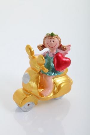 """Украшение """"Ангел на мотоцикле с сердцем в руках"""" 10 см."""