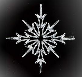 Верхушка-Снежинка, LED белый, 153см