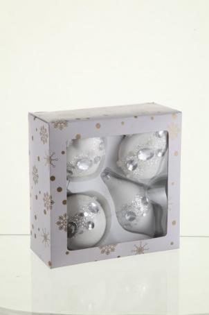Набор декорированных украшений (шар, капля, сердце, плоский шар) 8 см, белый глянец,стекло