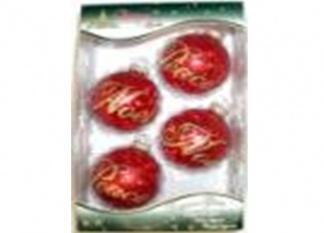 Набор новогодних декорированных украшений 67 мм. красного цвета