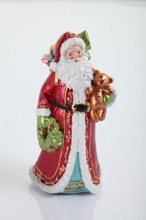 """Украшение """"Санта с мишкой и венком в руках"""" 16,5 см."""
