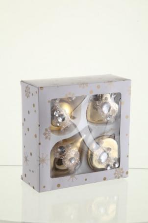 Набор декорированных украшений (шар, капля, сердце, плоский шар) 8 см, золото глянец,стекло,блистер