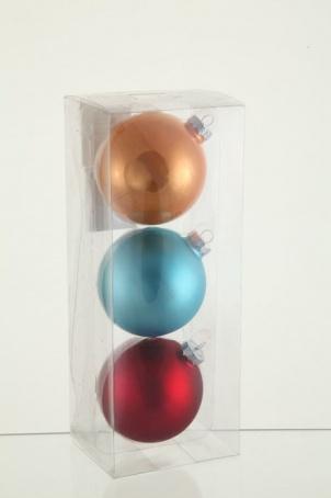 Набор декорированных разноцветных шаров, 8 см 3 шт , стекло блистер