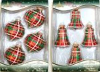 Наборы новогодних украшений красного цвета в ассортименте 75 мм.с декором шотландка