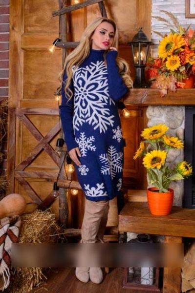 Теплое платье вязка с узором