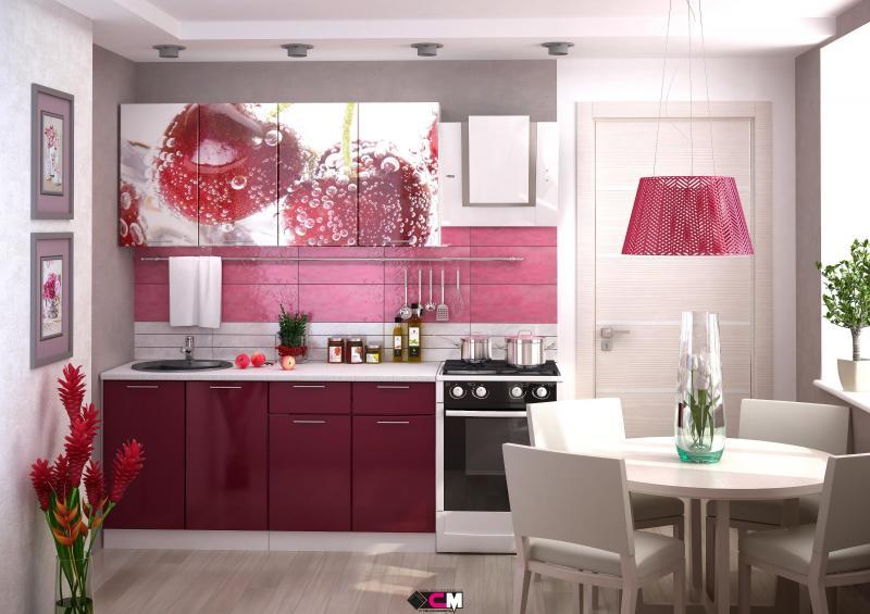 Фото Кухни готовые Кухня Вишня 1,6м (1,8м, 2,0м) - (Стендмебель)