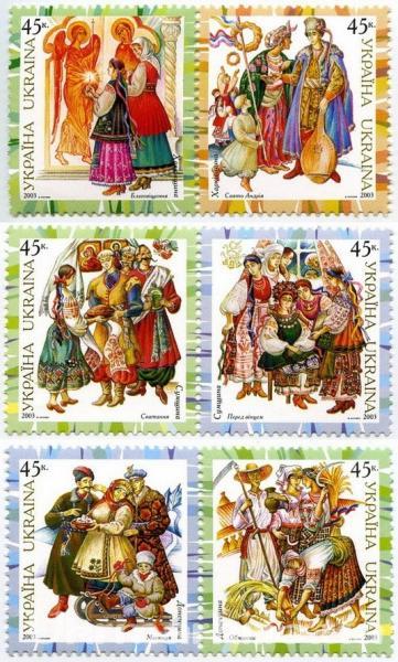 Фото Почтовые марки Украины, Почтовые марки Украины 2003 год 2003 № 547-552 сцепки почтовых марок Народная одежда СЕРИЯ