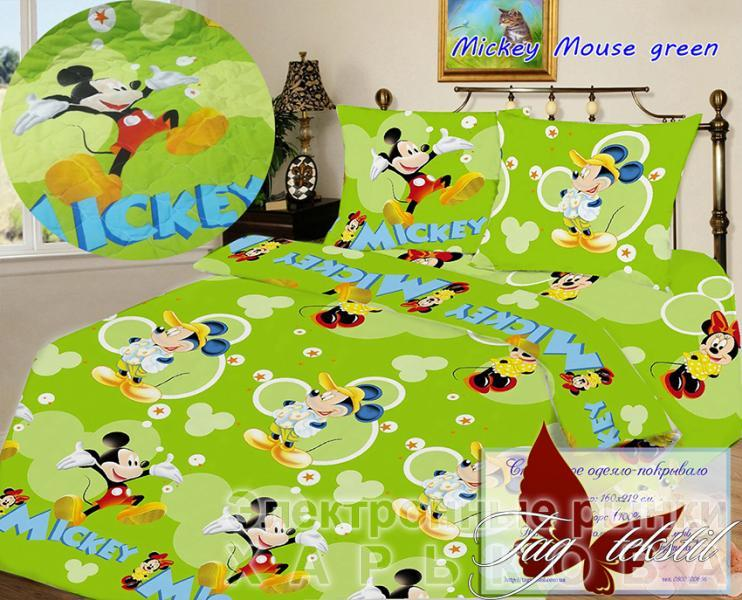 Стеганное покрывало Mickey Mouse green - Детские пледы, одеяла на рынке Барабашова
