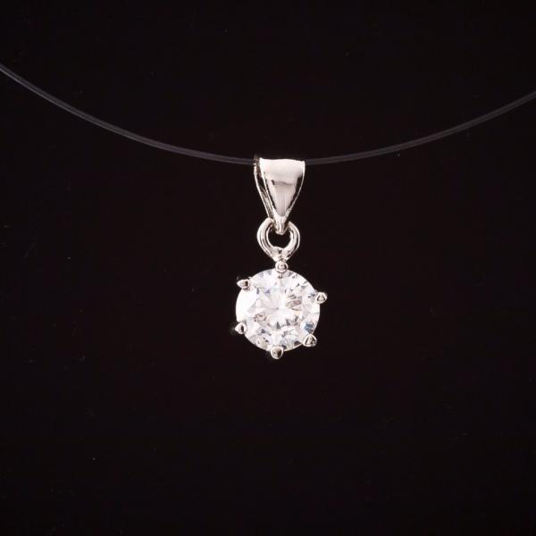 Кулон подвеска на невидимой цепочке леске с кристаллом L-41см d-0,6см