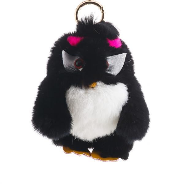 Брелок детский Птица нат. мех  черная  Энгри Бердс ( Angry Birds )  h-15 см