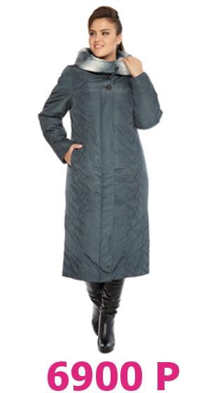 Пальто женское утепленное полуприлегающего силуэта, с капюшоном, с опушкой из искусственного меха