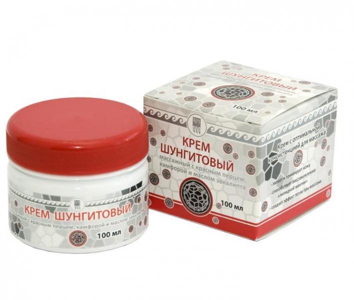 Крем шунгитовый массажный с красным перцем, камфорой и маслом эвкалипта