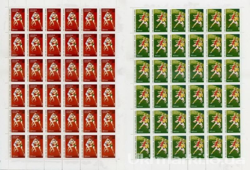 1996 № 113 лист почтовых марок XXVI летие Олимпийских игр в Атланте Греко-римская борьба 1996 № 114 лист почтовых марок XXVI летие Олимпийских игр в Атланте. Гандбол