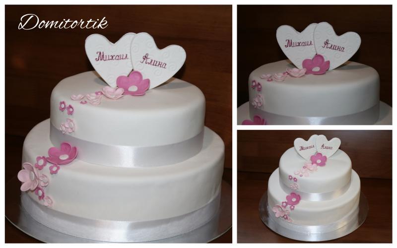 Торт свадебный Два сердца