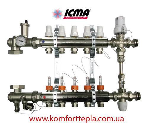 Коллектор в полном сборе Icma на 6 выходов (термоголовка, смесительная группа, без насоса)