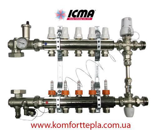 Коллектор в полном сборе Icma на 7 выходов (термоголовка, смесительная группа, без насоса)