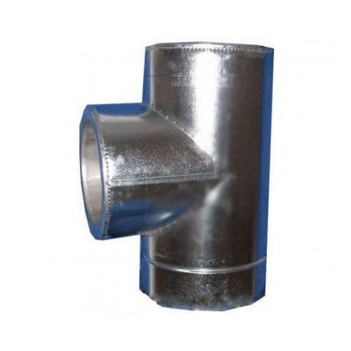 Тройник из нержавеющей стали в оцинкованном кожухе с термоизоляцией (87°) d 160/220