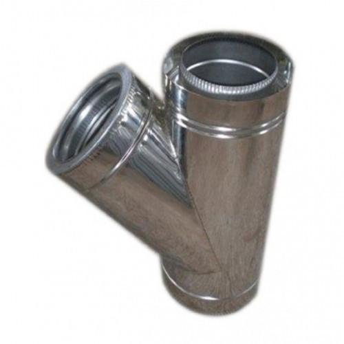 Тройник для дымохода из нержавеющей стали с термоизоляцией нерж/нерж 45° d 120/180
