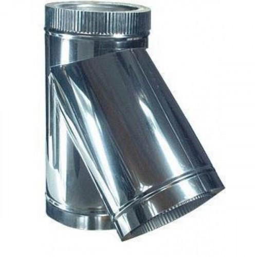 Тройник для дымохода из нержавеющей стали с термоизоляцией в оцинкованном кожухе 45° d 200/260