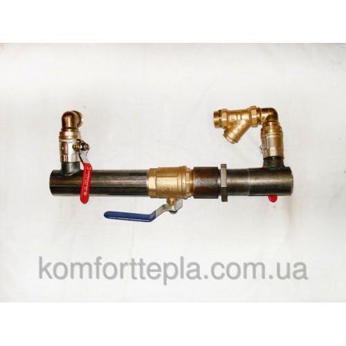 Байпас с краном O 50 для систем отопления (короткий)