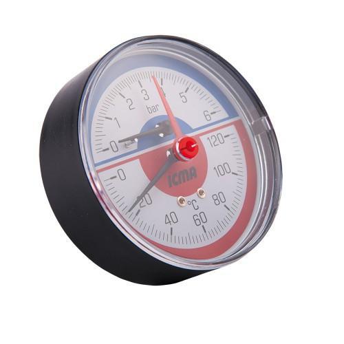 Термоманометр 1/2' (6 bar, 120°C) ICMA арт.259