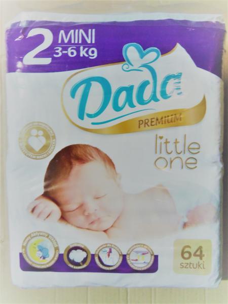 Подгузники детские DADA PREMIUM 2, 62 штуки., 3-6 кг.