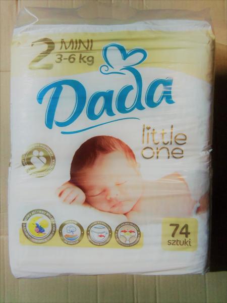 Подгузники детские DADA 2, 72 штуки., 3-6 кг.
