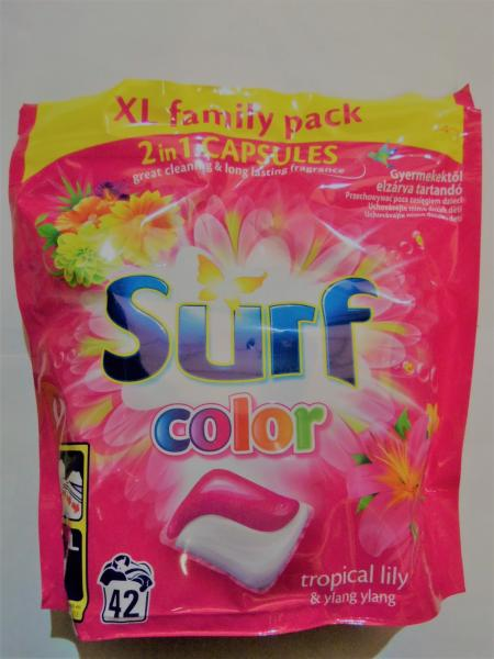 Капсулы для стирки цветного белья SURF COLOR, 42 штуки.
