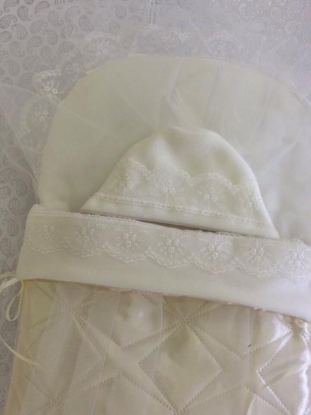 Фото Для новорожденных, Наборы на выписку Конверт для новорожденного королевский с накидкой