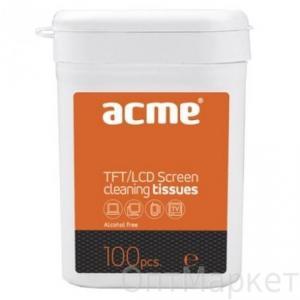 Салфетки для оргтехники в тубе Аcme 100 шт.