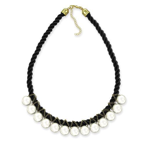 Фото Бижутерия, Ожерелья Ожерелье из белого жемчуга на чёрной нити