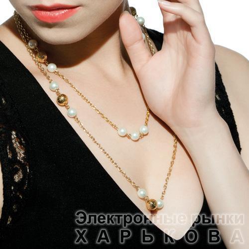 Ожерелье из белого жемчуга с золотыми бусинами - Колье, ожерелья, бусы, чокеры на рынке Барабашова