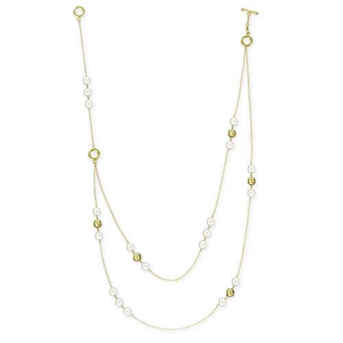 Фото Бижутерия, Ожерелья Ожерелье из белого жемчуга с золотыми бусинами