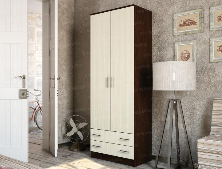 Шкаф 2-х дверный с выдвижными ящиками Венге- лоредо