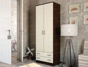 Фото  Шкаф 2-х дверный с выдвижными ящиками Венге- лоредо